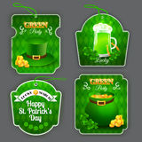 Green Party labels set with different design elements on St. Patrick's Day. Vector illustration. EPS 10 stock illustration
