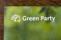 The Green Party. London, UK - May 20th 2019: A close-up of the Green Party logo on an information leaflet.  The Green party is a political party based on the stock image