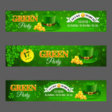 Green Party. Set with banners for celebration St. Patrick's Day. Vector illustration with green hat and golden coins. EPS 10 vector illustration