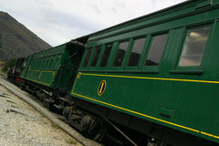 Green passenger train stock image