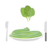 Green pasta with ingredient spinach. Spaghetti on a plate. Vecto Stock Images