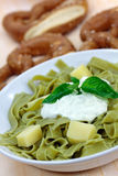 Green Pasta Salad With Curd Cheese And Yogurt Stock Photos