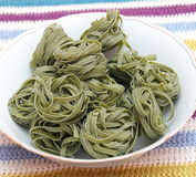 Green pasta. Some italian pasta with spinach royalty free stock image