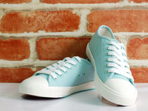 Green  pastel color lady sneaker wit wallpaper background Royalty Free Stock Image
