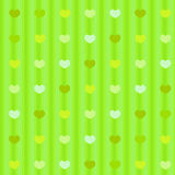 Green pastel hearts on striped cloth seamless back Royalty Free Stock Photography