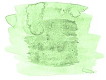 Green pastel watercolor hand-drawn isolated wash stain on white background. For text, design. Abstract texture made by brush for wallpaper, label stock illustration