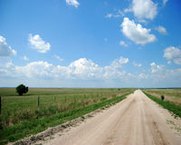 Green Pastures. A dirt road meanders through green rolling hills Royalty Free Stock Photos
