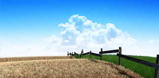 Green Pastures With Fence. A meadow symmetrically cut split by a wooden fence with one side flourishing and the other withering symbolising the saying greener Royalty Free Stock Images