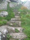 Green Path & Stone Steps, The Lizard, Cornwall UK Royalty Free Stock Photo