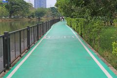 A green pathway of bicycles lane at the nature park.  stock photos