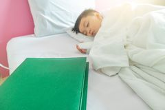 Green in-patient directory. With patient lying in hospital bed Royalty Free Stock Images