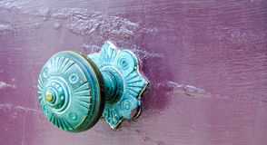 Green Patina: Antique Door Knob Stock Photo