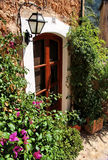 Green patio in Mallorca. Cozy sunny yard in Spain in Mallorca island Royalty Free Stock Image