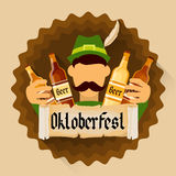 Green Patric Hold Beer Bottles Oktoberfest Festival Holiday Decoration Banner Royalty Free Stock Images