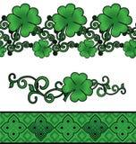 Green Patrick's day shamrock decor borders set Royalty Free Stock Image