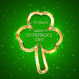 Green Patricks day background with clover Stock Image
