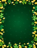 Green Patricks Day background with frame of golden coins and clover. Patrick`s Day design. Greetings card. Can be used for. Wallpaper, web, scrap booking stock illustration