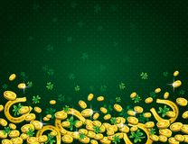 Green Patricks Day background with golden horseshoe, coins and clover. Patrick`s Day design. Greetings card. Can be used for. Wallpaper, web, scrap booking royalty free illustration