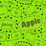 Green pattern with apples. Green seamless pattern with apples and inscriptions:Apple, Apples, Juicy Stock Image