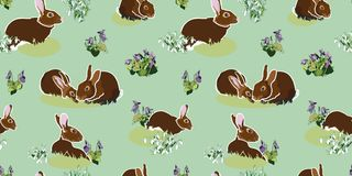 Green pattern with bunny. vector illustration