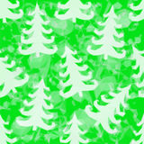 Green Pattern with Fir Trees. Silhouettes, Low Poly Background. Vector Stock Image