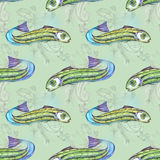Green pattern with fish. For seamless Stock Images