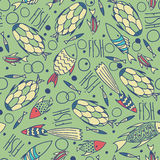 Green pattern with fishes in a chaotic manner Royalty Free Stock Photography