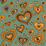 Green pattern with gold hearts Stock Images