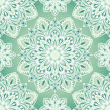 The green pattern of mandalas. Seamless oriental pattern of round color elements in shades of green. Vector pattern of filigree mandalas symmetrically located Stock Photography