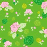 Green pattern with rose Stock Photography