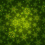 Green pattern with snowflakes, royalty free stock photography