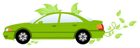 Green pattern spreads out from the car Stock Photography