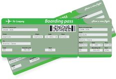 Green pattern of two airline boarding pass tickets. For traveling by plane. Vector illustration Stock Photos