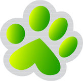 Green paw print. Illustration art of a green paw print with isolated background Stock Images