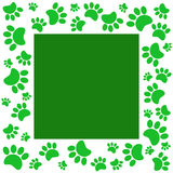 Green paw prints animal frame. Royalty Free Stock Photo
