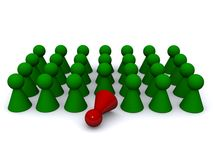 Green pawns and one red pawn Stock Photography