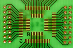 Green PCB. Board backlighted - with place for PLCC IC Royalty Free Stock Image