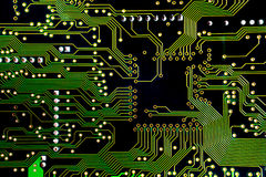 Green PCB close-up shot. For use as background image or as texture Royalty Free Stock Image