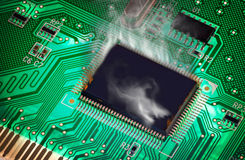 The Green PCB on the lighting. steamy from overheating Royalty Free Stock Photography