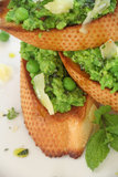 Green Pea Baguette Stock Photo