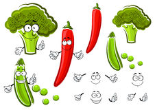 Green pea, broccoli and chilli pepper. Green pea pod, broccoli and red chilli pepper vegetables cartoon characters with smiling faces. For vegetarian food or Royalty Free Stock Image
