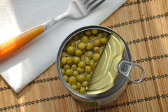 Green pea can Stock Image