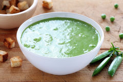 Green pea cream soup Royalty Free Stock Photography