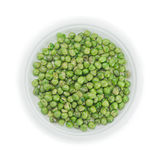 Green pea in disposable dish on white background Royalty Free Stock Photos