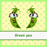 Green pea, funny characters on yellow background Royalty Free Stock Photos