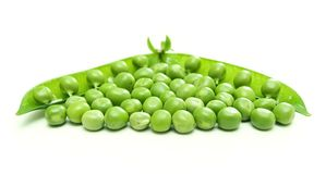 Green pea pod and seeds Royalty Free Stock Photo