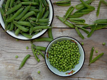 Green pea pods and cleaned in a metal bowl. On a wooden background royalty free stock photos