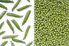 Green pea pods closed and fresh peas isolated Stock Image