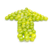 Green pea pods in the shape of an arrow Royalty Free Stock Photo