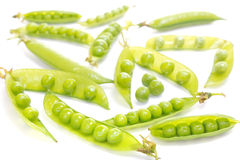 Green pea pods on white background. Fresh Green peas pods on white background Royalty Free Stock Photography
